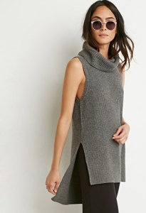 grey sleeveless turtleneck