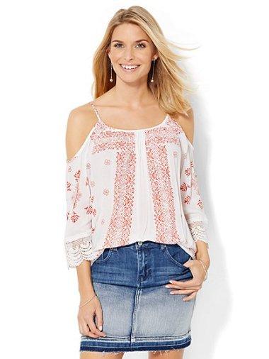 Crochet-trim cold-shoulder blouse
